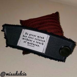 Steampunk Bracelet Cuff Goth Mind & Madness Quote